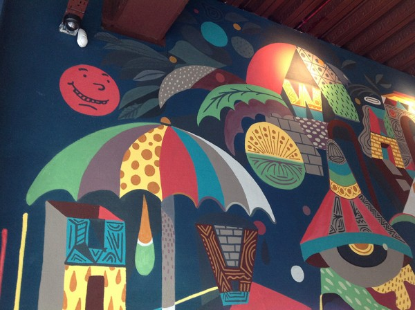 Wahaca Cardiff bar mural (detail) 44 Flavours