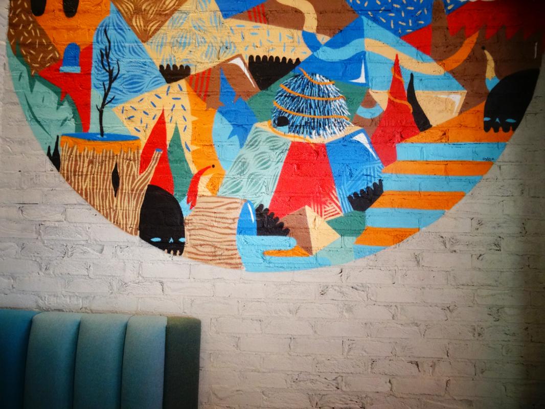 Wahaca Wimbledon restaurant mural
