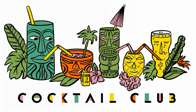 Cocktail Club Illustration - Art Deco type