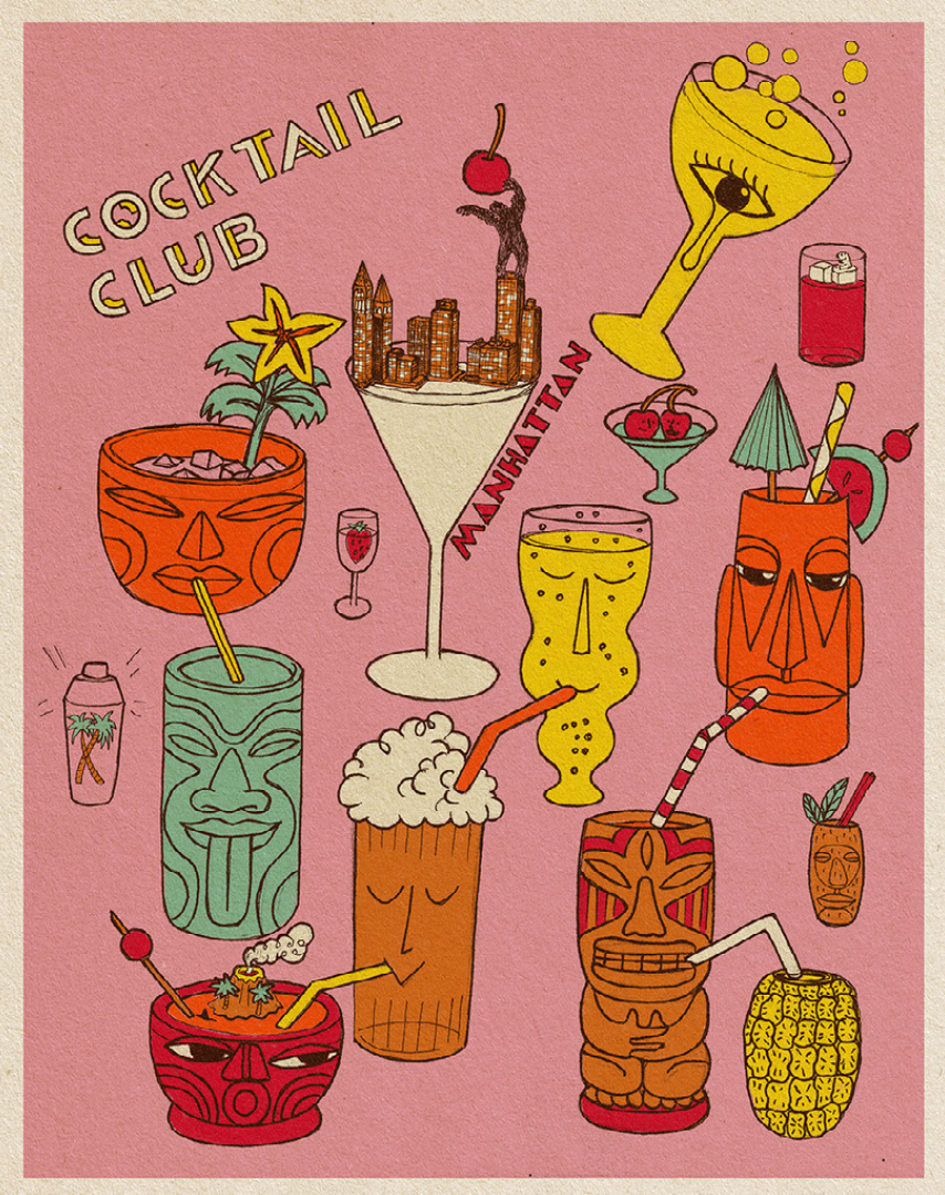 Cocktail Club illustration on pink