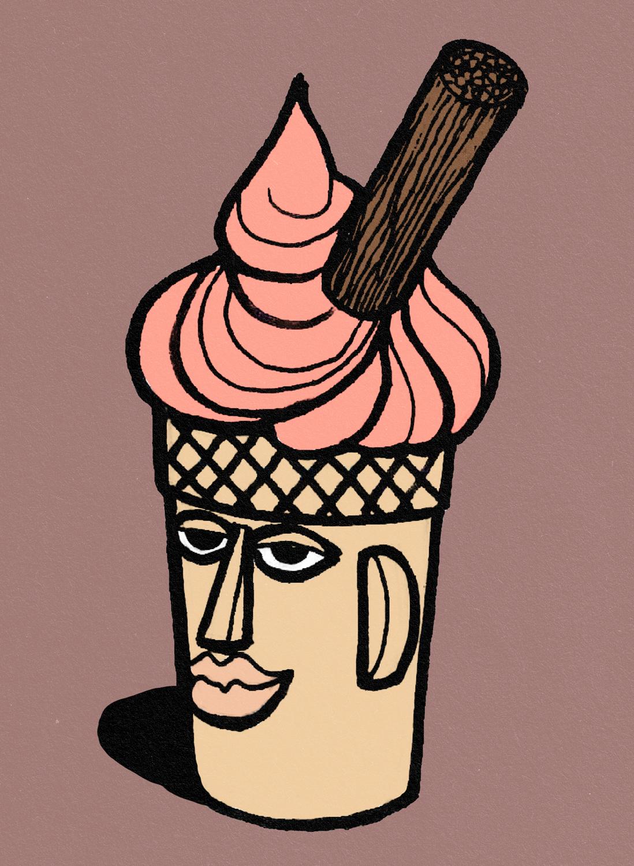 Ice Cream Head Illustration